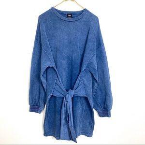 Zara acid wash tie waist sweatshirt dress